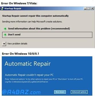 مشکل Startup Repair کامپیوتر