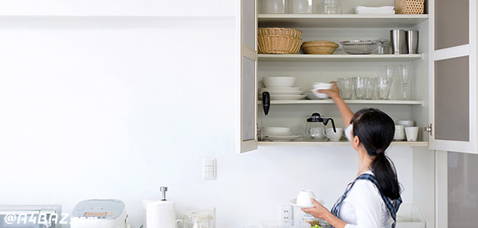 مرتب کردن کابینت ها آشپزخانه کثیف