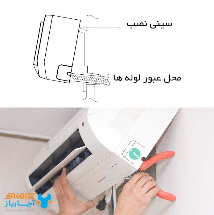 خالی کردن آب ناودانی کولی گازی