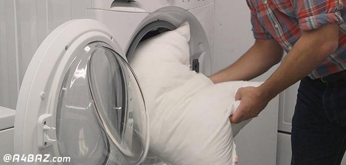 شستن بالش الیافی با ماشین لباسشویی
