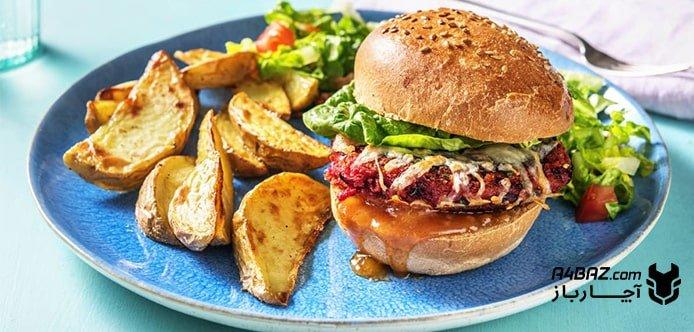 همبرگر گیاهی با قارچ