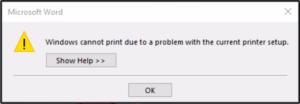 خطای windows cannot print due to a problem with the current printer setup