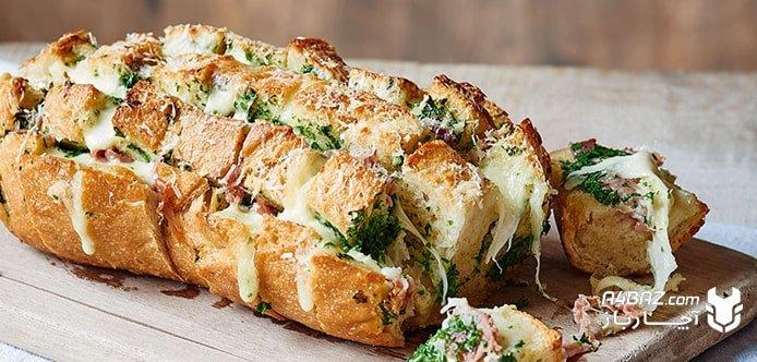 طزر تهیه نان سیر در فر