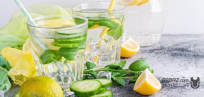نوشیدنی چربی سوز  خیار و لیمو