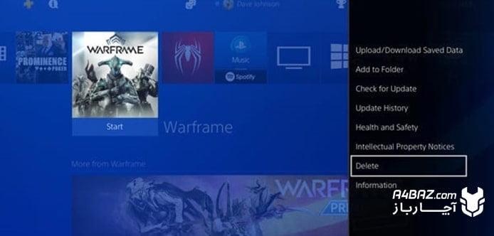 حذف بازی PS4